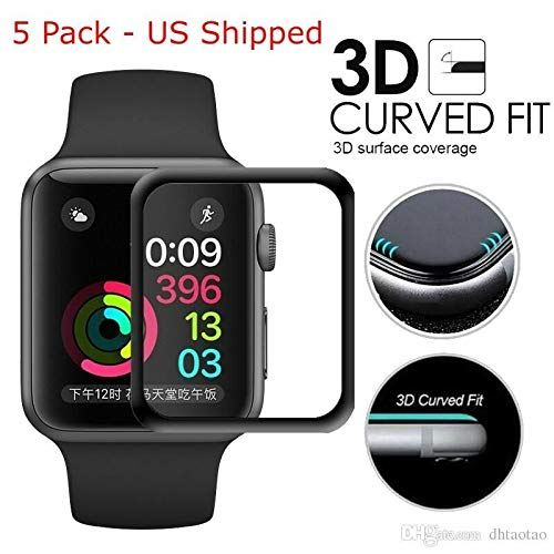5 Pack -Apple Watch 4 (2018 Model) - 40mm 3D Full Cover Tempered Glass Screen Protector -Black US Shipped
