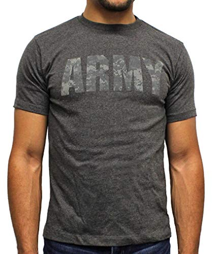US Army Shirt Officially Licensed Camo Script Logo Army Men Charcoal Heather Tee LG