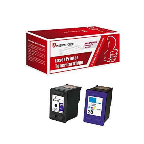 Awesometoner Remanufactured Ink Cartridge Replacement for HP 27 and HP 28 (1 Black 1 Color 2 Pack)