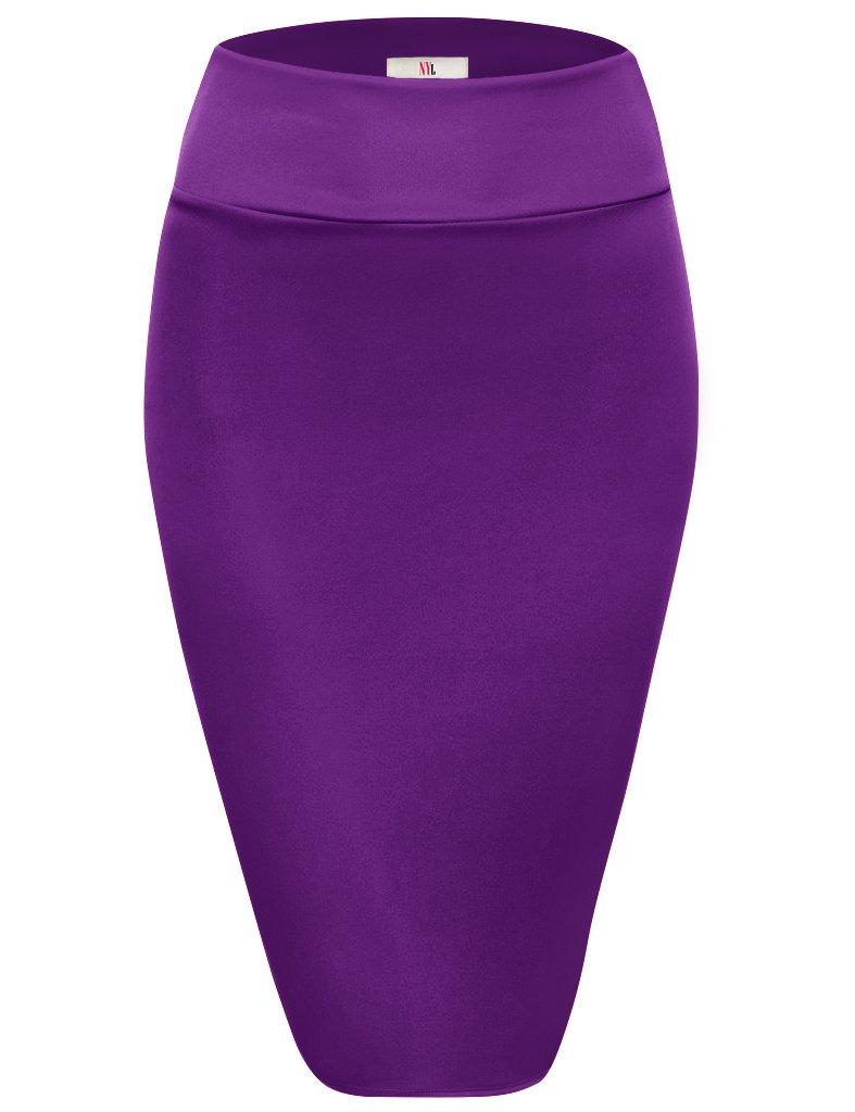 Womens Below Knee High Waist Office Pencil Skirt, S2006, Medium, Purple