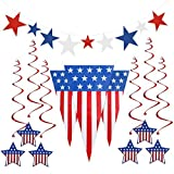 PBPBOX Fourth of July Decorations Patriotic Decoration Independence Day Party Supplies, Include Pennant Flags 24 Feet, 6 Foil Hanging Swirls, 9 Star Cutouts