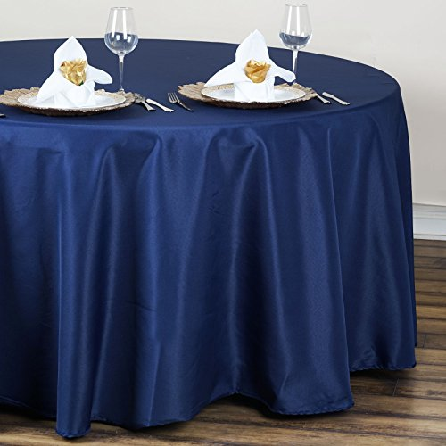 BalsaCircle 120 inch Navy Blue Round Table Cloth Fabric Table Cover Linens for Wedding Party Tablecloth Polyester Reception Banquet Events Kitchen Dining