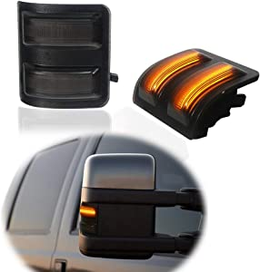 Miniclue Smoked Lens Side Mirror LED Marker Lights Compatible with 2008-2016 Ford F250 F350 F450 Super Duty Amber Light