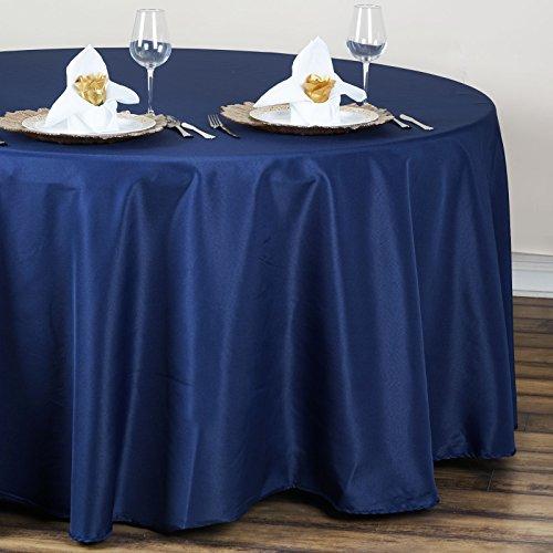 "BalsaCircle 120"" Round Polyester Tablecloth Wedding Table Linens - Navy Blue"