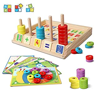 Lydaz Wooden Puzzles Counting Toys, Montessori Preschool Learning Educational Math Toys for Toddlers, Matching Shape Sorter Stacking Stem Fine Motor Skills Toys for 3 Year Olds and Up