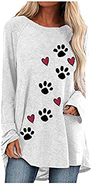 Simayixx Women's Loose Long Sleeve Comfy Swing Tunic Top Blouse T-Shirt Fashion Puppy Claw Print Pullover