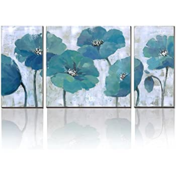 Cubism Floral Paintings On Canvas 3 Panels Modern Prints Artwork Blue  Abstract Wall Decor,
