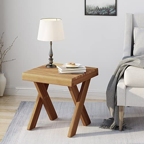 Christopher Knight Home Estelle Indoor Farmhouse Acacia Wood Side Table, Sandblast Teak Finish