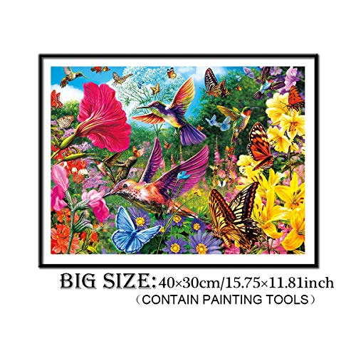 DIY 5D Diamond Painting Kit, ONE Phoenix Full Round Drill Hummingbird Flowers Butterfly Paintings, Clearance Rhinestone Diamond Paintings for Home Wall Decor, Contain Tools (40x30CM/15.8x11.8INCH)