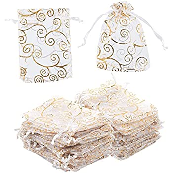 Amazon.com: Anleolife 100pcs Gold Sheer Organza Wedding ...