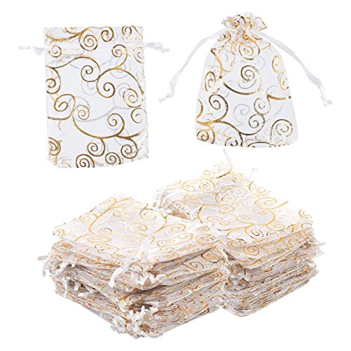 Organza Bags - 120-Count Satin Drawstring Organza Pouches with Gold Swirl Design, Mesh Favor Bags for Baby Showers, Wedding Gifts, Special Occasions, Party Favors, 3.5 x 4.75 Inches