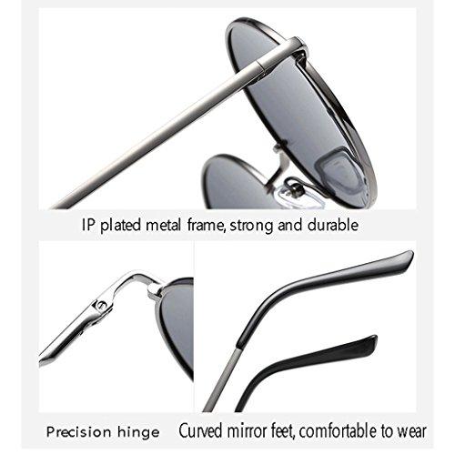 metálico bisagra de Gafas polarizadas Sol del Las UV400 HUACANG de de Gafas de Vendimia de Retros Lennon Primavera Marco Sol de la Sol Gafas Sol la la Black Silver Unisex Classic de de Gafas Redondas Hippie pwxqPf