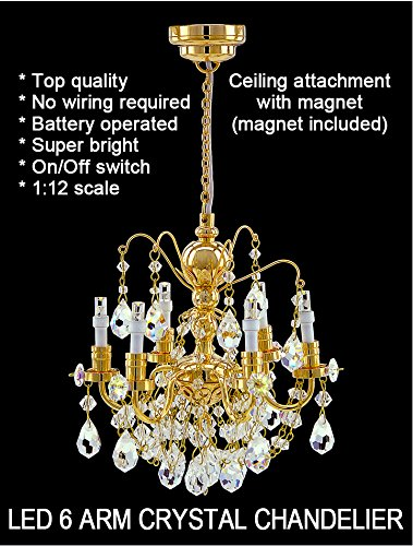 Crystal gold chandeliers, 6 arms, LED Super bright On/off switch dollhouse miniature 1:12 scale by miniLAND - The Center for Hand Crafted Miniatures