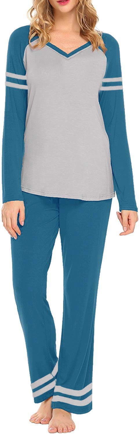 AOVXO Soft Pajama Set for Women Casual V-Neck Long Sleeve Loose Loungewear Set Long Sleeve Tops & Long Sleep Pants with Pockets Loungewear (Blue with Grey, XL)