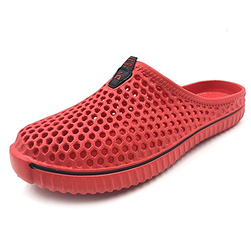 Amoji Unisex Garden Shoes Clogs Slippers Sandals Beach Shower Shoes Red 13US W/11US M