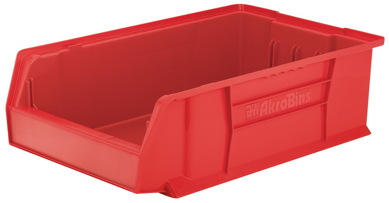 Akro-Mils 30280 20-Inch D by 12-Inch W by 6-Inch H Super Size Plastic Stacking Storage Akro Bin, Red, Case of 4