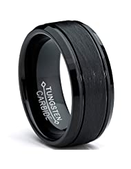 Metal Masters Co.® Tungsten Carbide Men's Black Brushed Textured Center Ring Band, 8 mm Comfort Fit Sizes 7 to 15