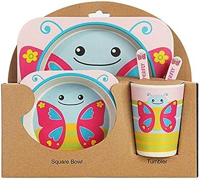 Bogen Tasse Baby Geschirr F/üTterung Set Bambus Faser Baby Sch?Ne Kinder Container Geschirr Set Pinguin Xigeapg 5 Teile//Satz Karikatur Tier Platte Gabel