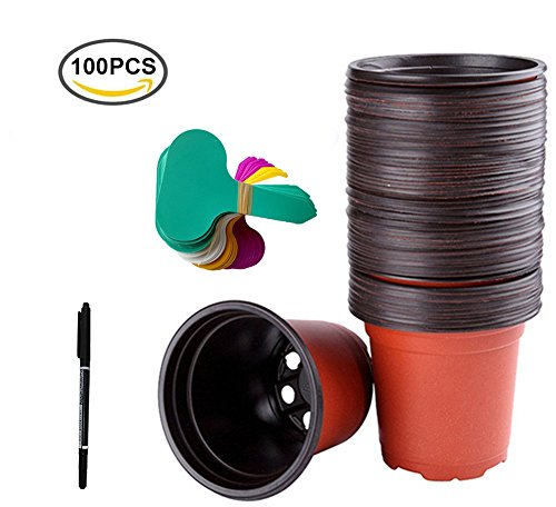 HOMEDA Seed Starting Pots, 100 Pack Round two-color Plastic Nursery Pots Plants Flower Seedling Container,4.3 inches (Starting Seeds Greenhouse)