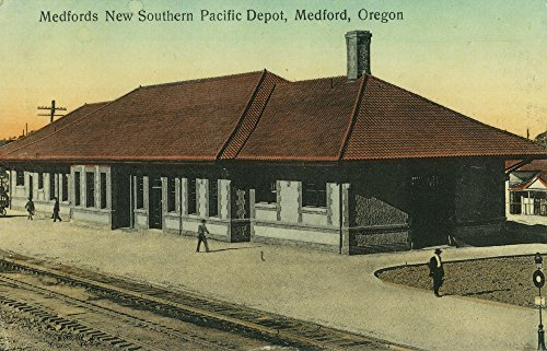 - Southern Pacific Railroad Depot in Medford, OR (16x24 SIGNED Print Master Giclee Print w/Certificate of Authenticity - Wall Decor Travel Poster)