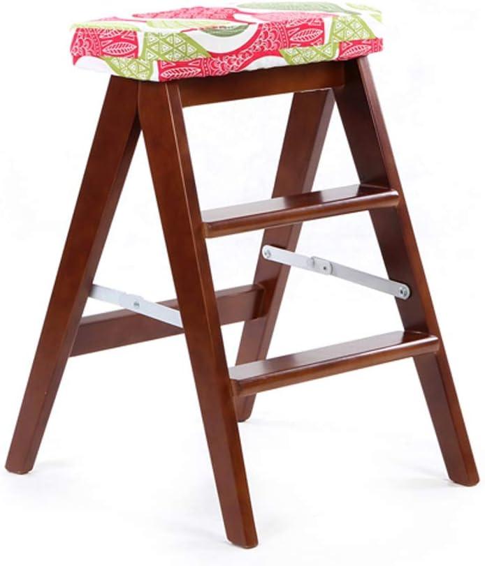 YUAN MA 椅子- 折りたたみスツール - 木製スツール、取り外し可能および洗える、世帯のはしご、ステップスツール、サードギアの高さ、オプションの色 屋内と屋外に適しています (色 : E)