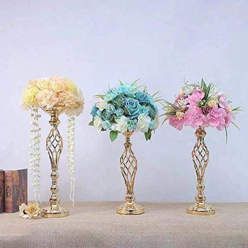 Sfeexun Versatile Metal Flower Arrangement & Candle Holder Stand Set Candlelabra for Wedding Party Dinner Centerpiece Event Restaurant Hotel Decoration (Twist Style, 10 x L) by Sfeexun (Image #3)