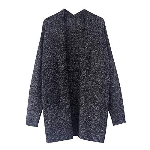 Jumper Noir Manches Sweatshirt Hiver Blouse Dames À Cardigan Tops Pocket Pull Femmes Mode Tricots Longues Avant De Solide Tuniques Ouvert La TZRggqxwd