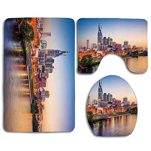 Halloween Travel Destinations (NEW MOMO 3 Piece Bathroom Non-Slip Rug Contour,Mat and Toilet Lid Cover United States Cumberland River Nashville Tennessee Evening Architecture Travel)