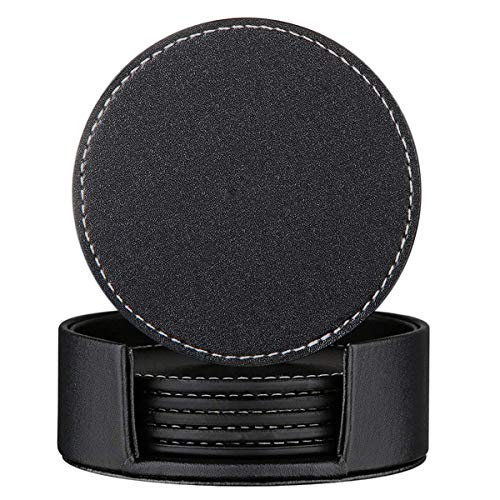 Set of 6 Leather Drink Coasters Round Cup Mat Pad for Home and Kitchen Use Black, (Leather 4 Coaster Set)