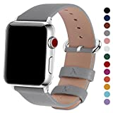 Fullmosa Compatible for iWatch Band 38mm 42mm Calf Leather Compatible Apple Watch Strap Bands Replacement Compatible Apple Watch Series 3 Series 2 Series 1, 38mm Grey