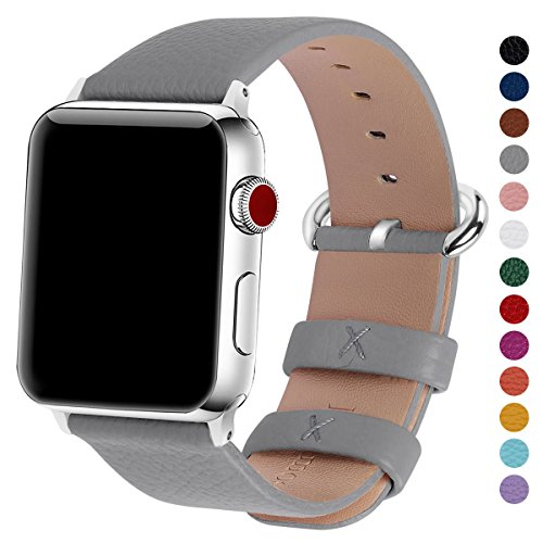 Fullmosa Compatible for iWatch Band 38mm 40mm 42mm 44mm Calf Leather Compatible iWatch Strap Bands CompatibleiWatch Series4 Series 3 Series 2 Series 1, 38mm 40mm Grey ()