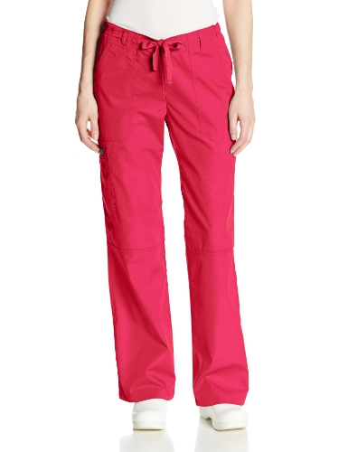 Cherokee Women's Workwear Scrubs Low Rise Draw String Cargo Pant, Raspberry, X-Small