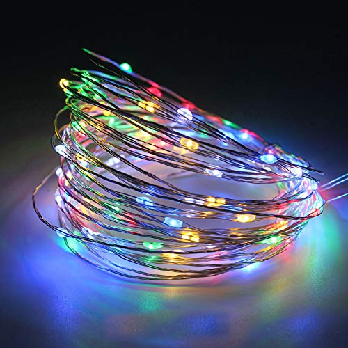12 Christmas Lights Volt (Hirosa LED String Lights 33 ft with 100 LEDs,Color Change Waterproof Decorative Lights for Bedroom, Patio, Parties, Gate, Yard, Wedding and Garden(Copper Wire Lights, RGB))