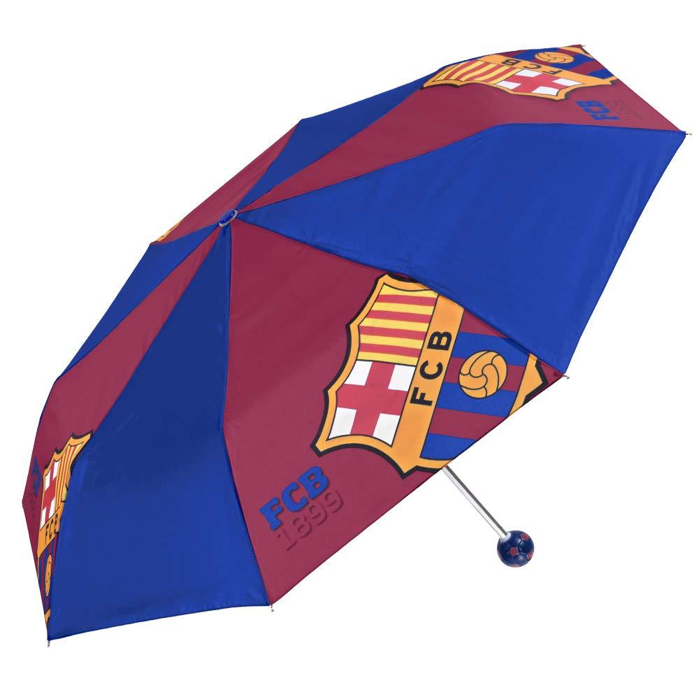 Perletti Accessoire Officiel avec Logo FCB Bar/ça Petit Parapluie de Poche Coupe Vent Parapluie Pliant Enfants FC Barcelone Poign/ée Ballon Foot Diam 89 cm Gar/çon 7+ Ans Bleu et Rouge