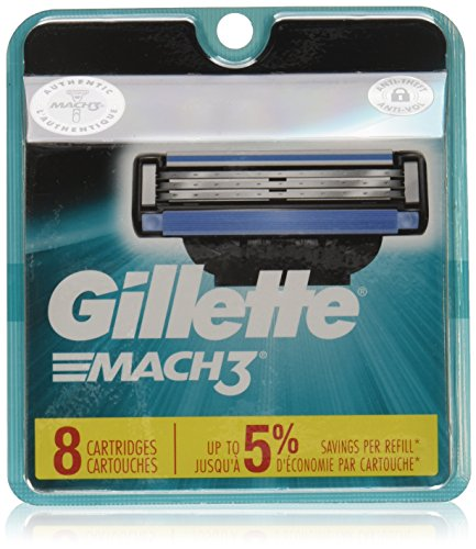 Gillette Mach3 Men's Razor Blades, 8 Blade Refills (Packaging May ()