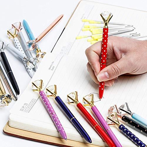 Wondoerful Direct Big Diamond Pen 20 Pieces Rhinestones Crystal Metal Ballpoint Pens Black Ink With 20 Pack 3.2'' Ballpoint Pen Refills, Different Colors (20Pcs Big Diamond Pen) Photo #9