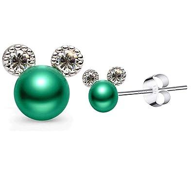 6c1da6f6b COMMINY Green Pearl Stud Earrings for Women Hypoallergenic, Sterling Silver  Small Cute Mouse Earrings,