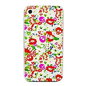 Nsaneoo - Flower Skull Pattern Back Case for iPhone 4/4S