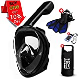 UGI Snorkel Mask Full Face - 2017 Snorkeling Set for Adult Youth+Diving Fins+Dry Bag+Waterproof Phone Bag - Anti Fog Anti-leak Easy Breath Scuba Dive Gear With GoPro Head Mount Panoramic 180° SeaView