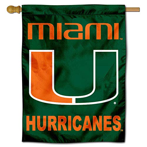 College Flags and Banners Co. University of Miami Banner House Flag ()