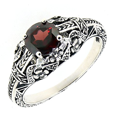 BL Jewelry Antique Finished Sterling Silver Genuine Garnet Filigree Ring (1 CT.T.W) ()