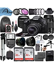 Canon EOS 90D DSLR Camera 32.5MP Sensor with EF-S 18-55mm is STM & EF 75-300mm Daul Lenss, 2 Pack SanDisk 32GB Memory Card, Backpack, Full Size Tripod & A-Cell Accessory Bundle (Black)