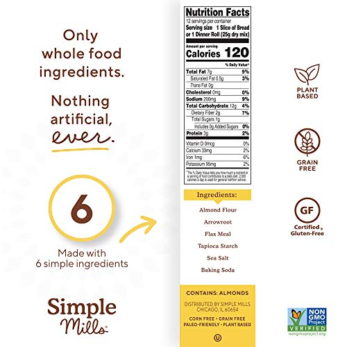 Simple Mills Almond Flour Baking Mix, Gluten Free Artisan Bread Mix, Made with whole foods, 3 Count (Packaging May Vary) 6