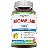 Pure Naturals Bromelain Dietary Supplement - 500mg, 120 Enzyme Tablets Per Bottle - Supports Healthy Digestion, Anti- Inflammatory Support & More