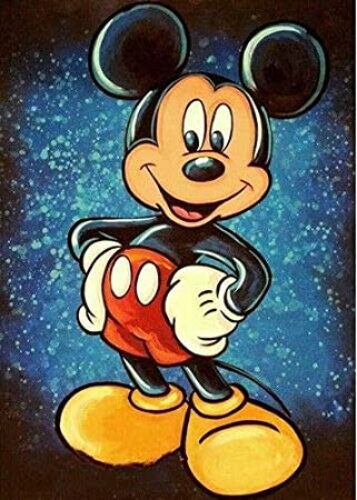 YUESEN Kits de Peinture de Diamant Bricolage 5D Mickey Mouse Famille ami DIY 5D Diamant Peinture Point De Croix Kit Dessin Anim/é Mur D/éco 40 30 cm