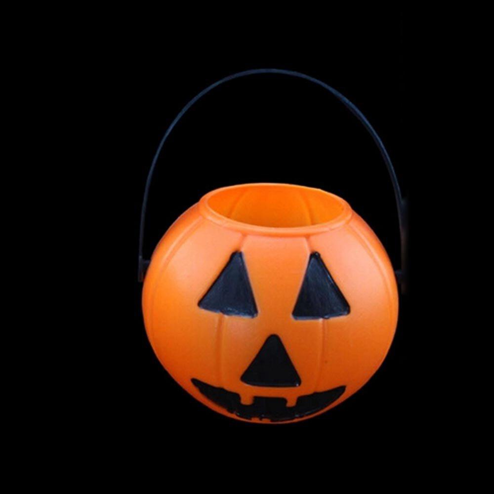 HuntGold 2X Halloween PropPartei Verein Kunststoff Kürbis Eimer Süßigkeiten Topflappen Dekoration (Typ 2)(Versand aus HK,Lieferzeit :10-25 Tage)