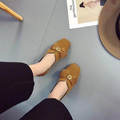 amarillo Baja de Sexy de EUR38 Cuadrada Bajo con Las con Cabeza Calzado Conjuntos un Zapatos Mujeres Pequeño de Boca Zapatos Lana de de Los q0B4wtS