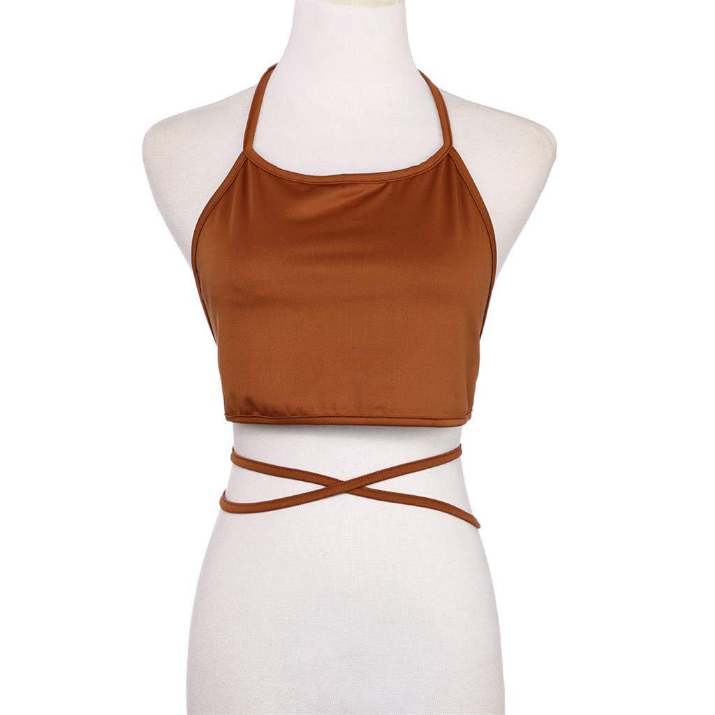 New Blouses Thenlian Women Sleeveless Backless Vest Halter Tank Tops Blouse Halter Vest with Navel Vest T-Shirt(Free, Khaki)