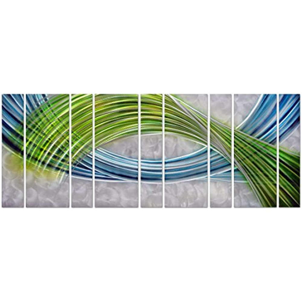 3ded4a76e5 Pure Art Abstract Color Warp Metal Wall Art, Oversized Scale Metal Wall  Decor in Abstract Blue-Green Swirls, 9-Panels Measure 86&rdquo x 32&rdquo,  ...