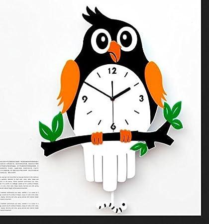 SL&HEY Creative relojes reloj de pared dibujos animados animales aves loro niños salón silencio reloj de cuarzo ,20 , en pequeñas 32*50cm.: Amazon.es: Hogar
